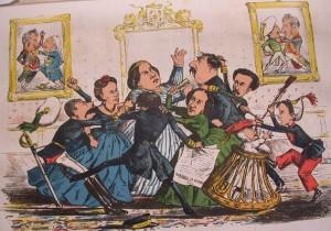 Al fondo, en el cuadro de la izquierda, Fernando VII pelea con su padre, Carlos IV, al modo en que lo hicieron entre 1807 y 1814 bajo la tutela napoleónica. En el de la derecha los contendientes son Don Carlos (V) y su hermano Fernando VII en lo que supuso el nacimiento de las guerras carlistas. En el centro, en torno a la recién destronada Isabel II, los pretendientes Duque de Monspensier, su cuñado, y Don Carlos (VII), su sobrino, combaten por el trono. Mientras, a la derecha, Alfonso (XII), el que finalmente lo consiguió, agrede a la niña Blanca, primogénita de Don Carlos. LA FLACA Nº 35. Barcelona (20-II-1870). Autor: D.P. Museo Zumalakarregi Museoa